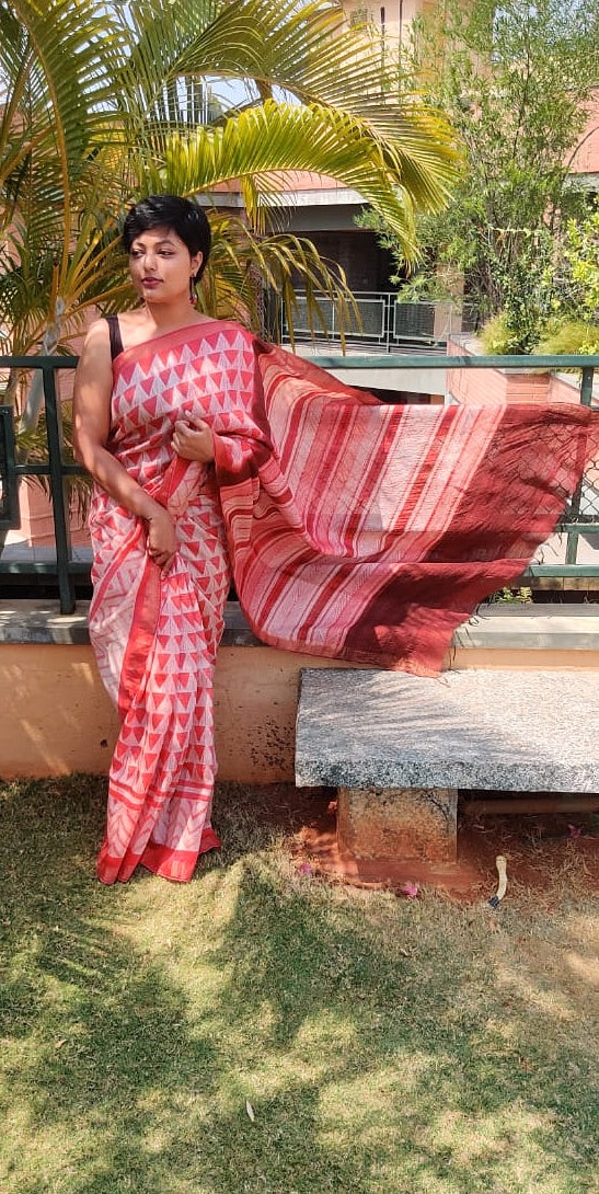 Young Terracotta - Tussar silk Shibori saree