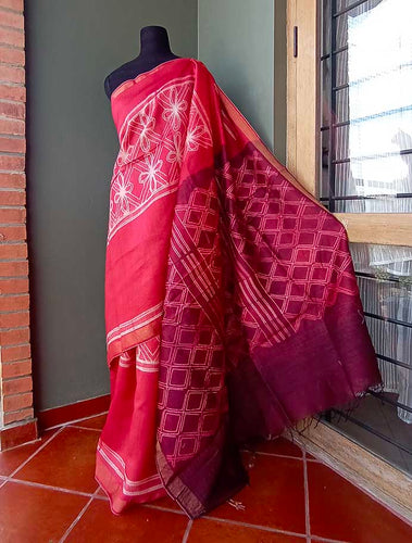 Cherry - Tussar silk Shibori saree