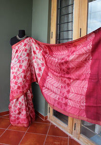 Cherry Blossoms - Tussar silk Shibori saree