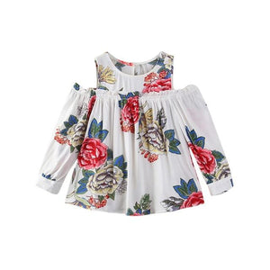 72bbf705e14a Hot Sale Toddler Baby Girls Floral Print Off Shoulder Long Sleeve T-shirt  Children Tops Dropshipping Baby Clothes