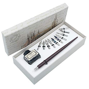 Wooden Dip Pen Handcrafted Calligraphy Set with Black Ink 11 nibs HO-Q-301