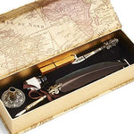GC QUILL Feather Pen and Ink Set, Calligraphy Quill Pen with Metal Letter Opener Pen Holder 6 Nibs 1 Dip Ink and 1 Sealing Wax Gift for Harry Potter Fans MU-08