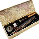 Antique Quill Pen Set Unique Half-Patterned Feather Pen Set with 6 Nibs 1 Bottle of Ink 1 Wax Seal Stamp 1 Pen Holder 1 Sealing Wax LL-149