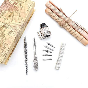 Metal Calligraphy Dip Pen and Letter Opener Set with 6 Nibs, 1 Ink Bottles and 1 Pen Holder - MU-06