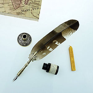Quill Pen Mysterious Beautiful Feather Writing Quill 6 Nibs Pen Holder GCER08