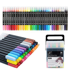 GC Dual Brush Pens Set, 36-Pack Watercolor Calligraphy Markers - GCAH36