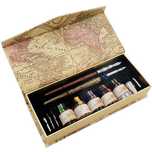 Calligraphy Pen Set Wood Stem Pen And Crystal Stem Pen with 7 Nibs 5 Colors Inks - LL1822