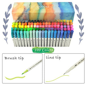 100 Dual Tip Brush Pen Marker Set Flexible Brush & Fineliner Tips
