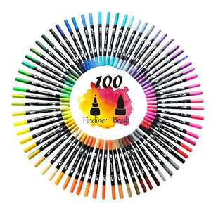 100 Colors Dual Tip Brush Pens Highlighter Art Markers 0.4mm Fine Liners & Brush Tip - HO-100B