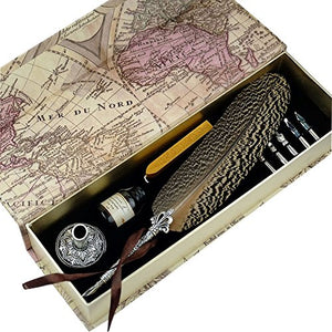 Quill Pen Beautiful Nuture Feather Metal Carving Pen Holder 6 Nibs Gift Set GCLL021