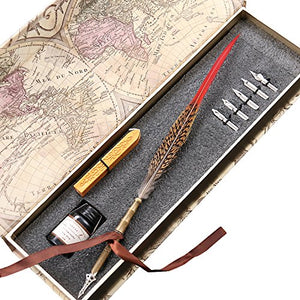Retro Feather Copper Pen Stem Metal Nibbed Pen Writing Quill LL-13