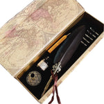 Antique Feather Quill Pen, Calligraphy Quill and Ink Set, Gift  for Kids, Harry Potter & GoT Fans