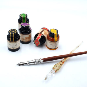 Glass and Wooden Dip Calligraphy Pens Gift Set with 5 Colors Dip Ink 6 Calligraphy Nibs - MU-02