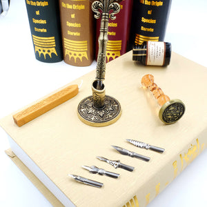 Feather Quill Pen Set with Calligraphy Ink & Glass Wax Seal Stamp, Gift for Kids Harry Potter Fans