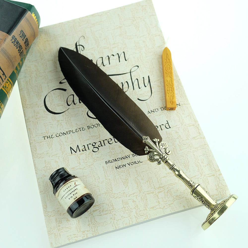 Antique Feather Quill Pen, Calligraphy Quill and Ink Set ...