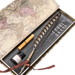 Antique Feather Copper Pen Stem Metal Nibbed Pen Writing Quill Calligrphy Set LL-14