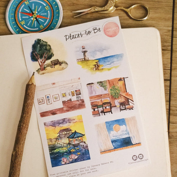 Free Printable Sticker Sheet: Places to Be