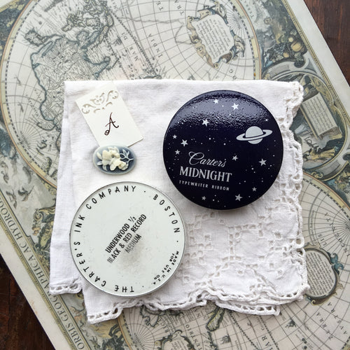 Vintage Carter's Midnight Round Typewriter Ribbon Travel Palette