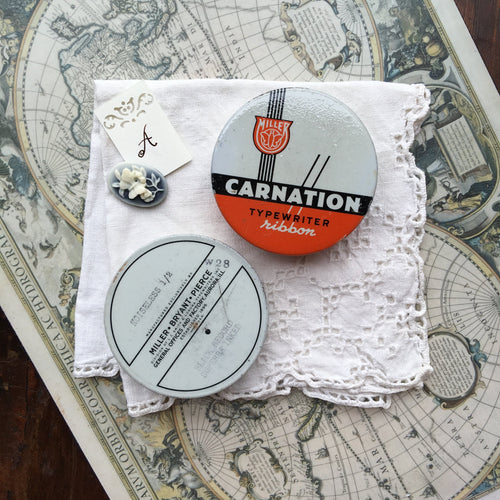 Vintage Miller Carnation Round Typewriter Ribbon Travel Palette