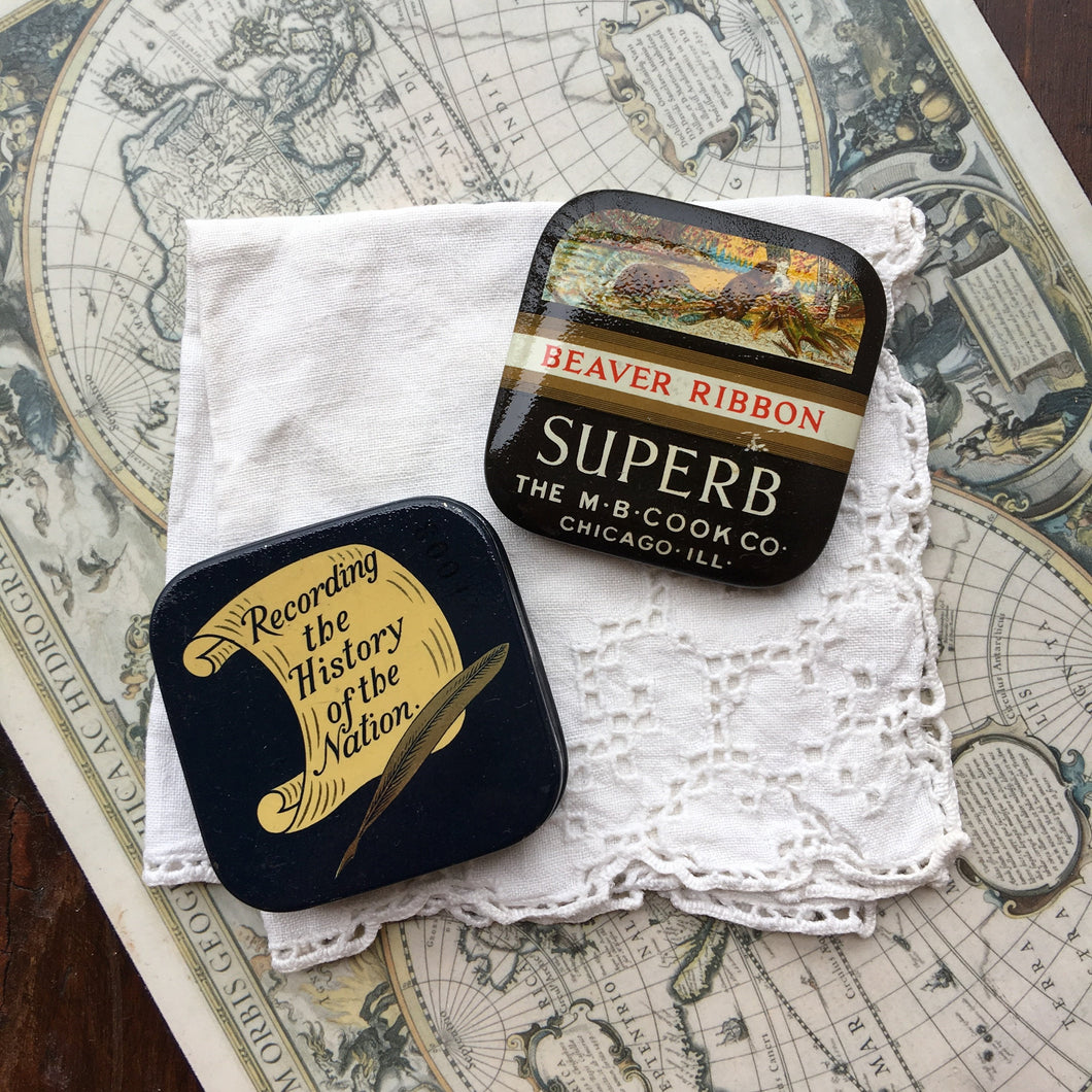 Vintage Beaver Superb & Duroc Square Typewriter Ribbon Travel Palette