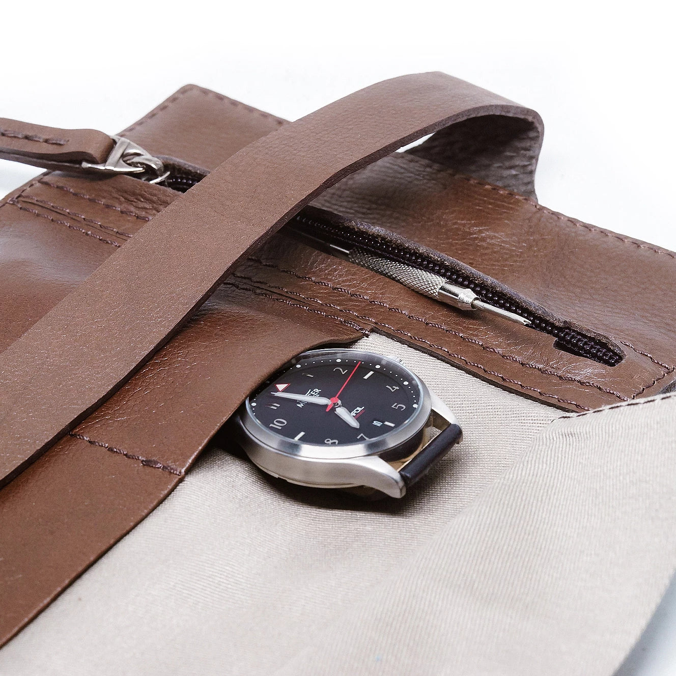 Handmade leather watch roll