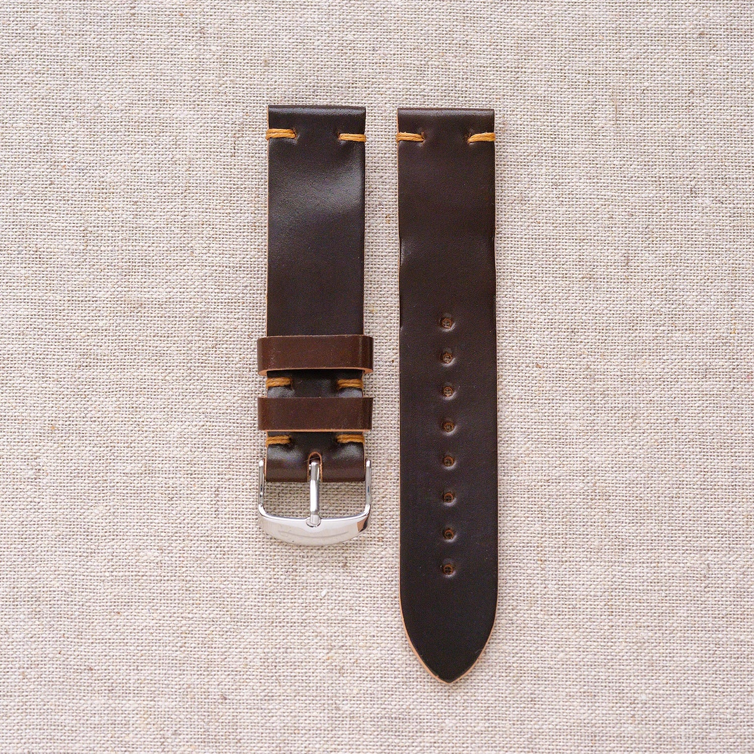 Unlined shell cordovan strap