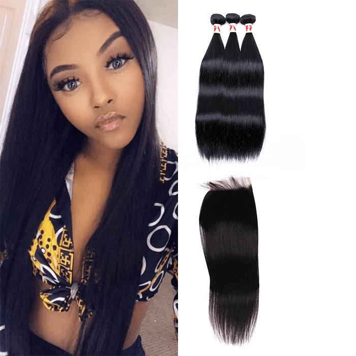 7A Human Hair Straight - 3 Bundles + Straight Closure