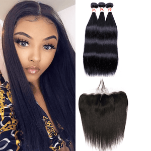 7A Human Hair Straight - 3 Bundles + Straight Frontal