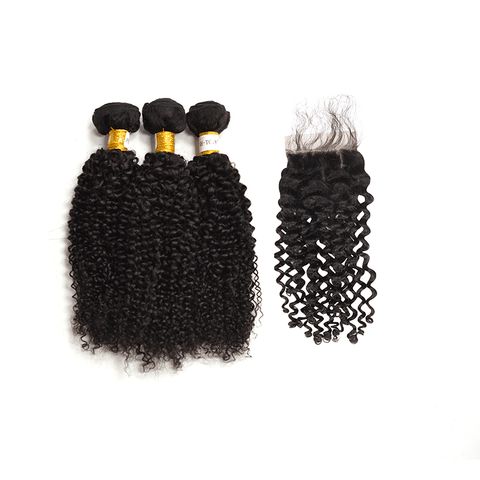 7A Human Hair Kinky Curly - 3 Bundles + Curly Closure
