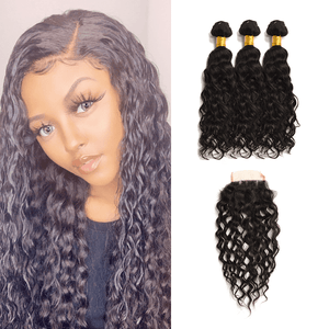 8A Virgin Hair Water Wave - 3 Bundles + Water Wave Closure