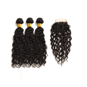 7A Human Hair Water Wave - 3 Bundles + Water Wave Closure