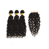 8A Grade Human Hair Water Wave - 3 Bundles + Water Wave Closure