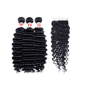 9A Grade Peruvian Virgin Hair Deep Wave - 3 Bundles + Deep Wave Closure
