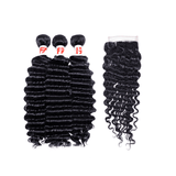 8A Grade Human Hair Deep Wave - 3 Bundles + Deep Wave Closure