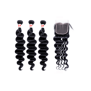 9A Grade Peruvian Virgin Hair Loose Wave - 3 Bundles + Loose Wave Closure