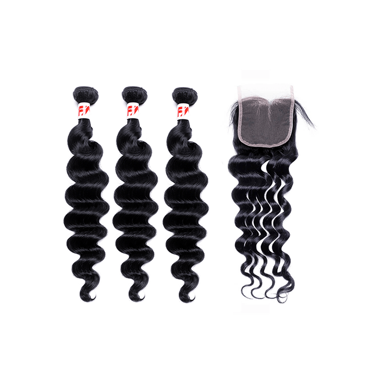 8A Grade Human Hair Loose Wave - 3 Bundles + Loose Wave Closure