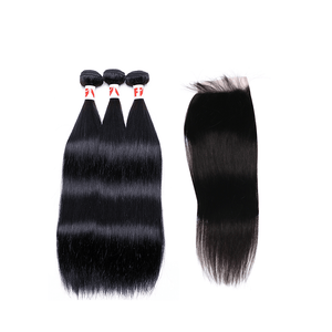 10A Grade Indian Remy Hair Straight - 3 Bundles + Straight Closure