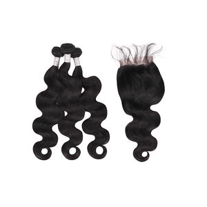 9A Indian Remy Hair Body Wave - 3 Bundles + Body Wave Closure