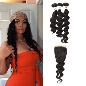 7A Human Hair Loose Wave - 3 Bundles + Loose Wave Closure