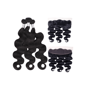 10A Grade Indian Remy Hair Body Wave - 3 Bundles + Body Wave Frontal