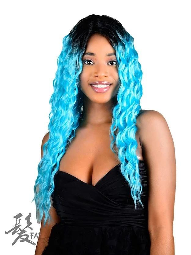 AMANDA SYNTHETIC, LACE FRONT, CURLY WITH SIDE PART 20""