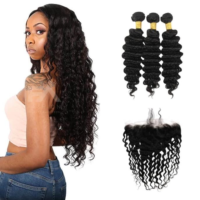 7A Human Hair Deep Wave - 3 Bundles + Deep Wave frontal - Fa fashion