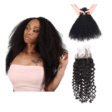 8A Grade Human Hair Kinky Curly - 3 Bundles + Curly Closure