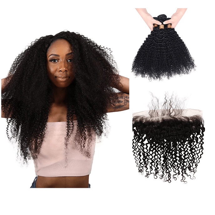 7A Human Hair Kinky Curly - 3 Bundles + Curly Frontal