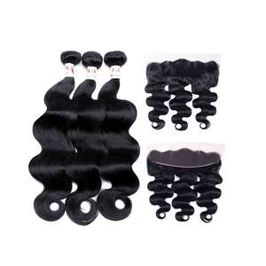 7A Human Hair Body Wave - 3 Bundles + Body Wave Frontal