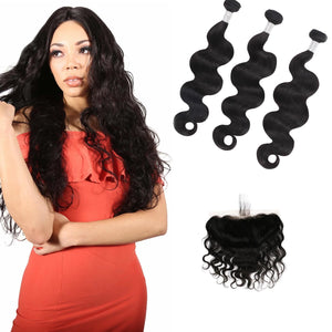 9A Remy Hair Body Wave - 3 Bundles + Body Wave Frontal - Fa fashion