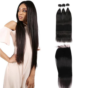 9A Remy Hair Straight - 3 Bundles + Straight Closure
