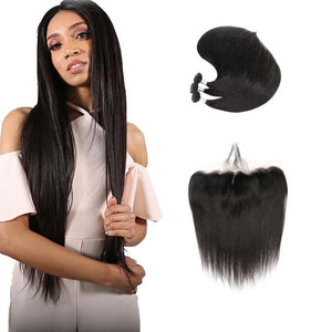 9A Remy Hair Straight - 3 Bundles + Straight Frontal