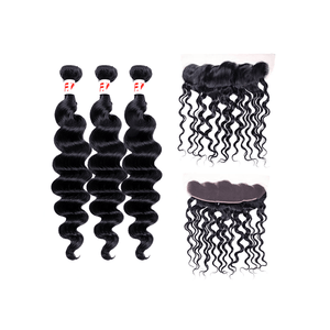 7A Human Hair Loose Wave - 3 Bundles + Loose Wave Frontal