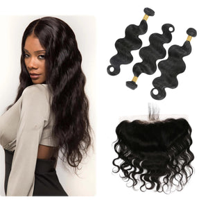 8A Virgin Hair Body Wave - 3 Bundles + Body Wave Frontal - Fa fashion